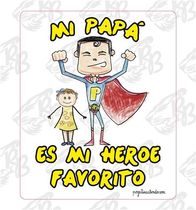 DIA DEL PADRE- MI PAPA ES MI HEROE FAVORITO NIÑA. PEGATINA CUADRADA